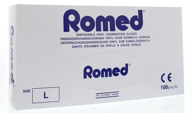 Romed Vinyl handschoen niet steriel gepoederd L 100stuks