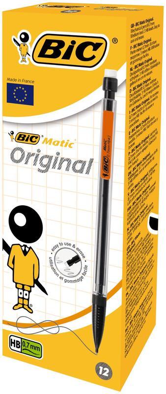 BIC Matic Vulpotlood HB 0 7 mm met gum 12 Stuks