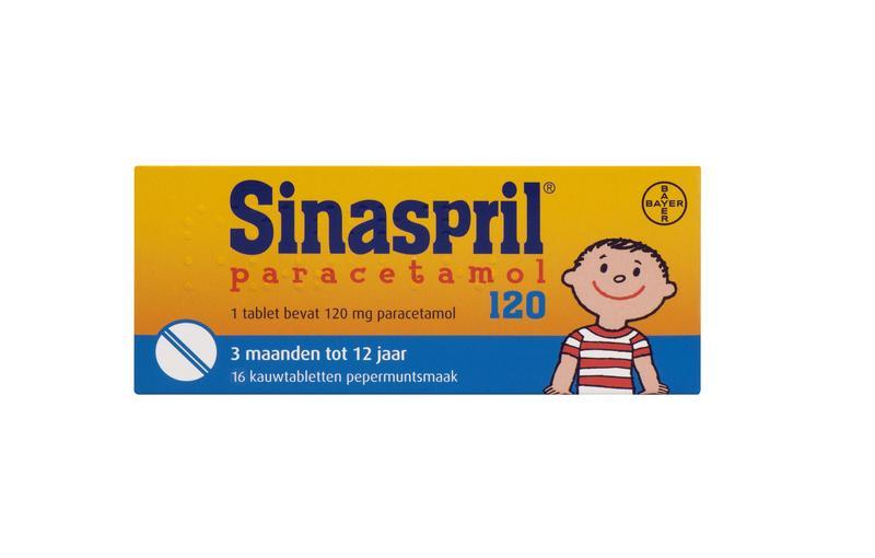 Sinaspril Paracetamol 120mg kauwtabletten 16tab