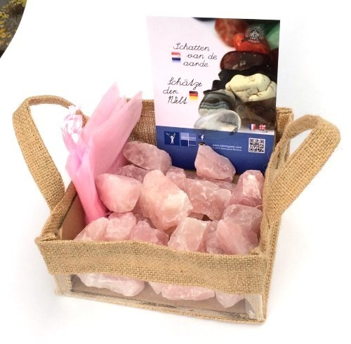 Steengoed Jute mandje roze kwarts brokje