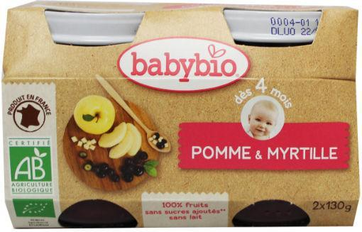 Babybio Dessert Appel Bosbes 2x130gr