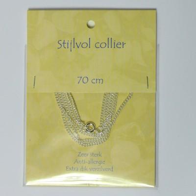 Collier Krt Verzilverd 70cm Stuk